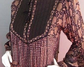 Sale Vintage  1970s sheer india gauze boho hippy bohemian dress
