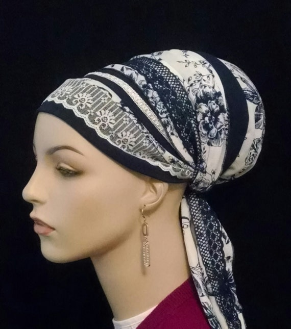 Made to order. Exquisite silky blue and white, Sinar tichel, tichels, apron tichels, head wraps, chemo scarves, mitpachat