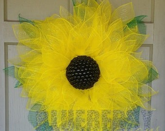 Spring Summer Yellow Sunflower Floral Mesh Wreath