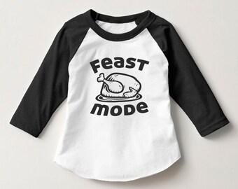 Toddler Thanksgiving Shirt Turkey Feast Mode 2t 3t 4t Child shirt thanks giving
