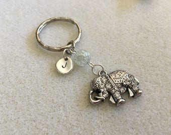 Elephant keychain elephant key chain elephant gifts elephant jewelry personalized gift mom elephant pendant initial gift ideas gift for her