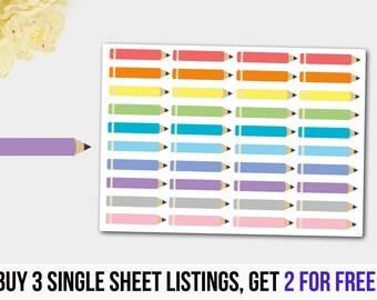 Pencil Stickers, Academic Stickers, Planner Stickers, Rainbow Pencil Stickers for Life Planners, Red Pencils,  Erin Condren