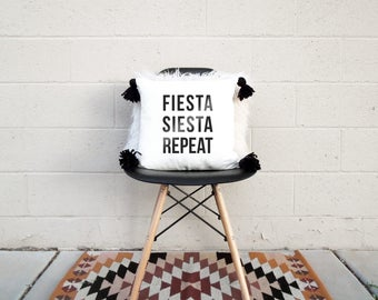 Fiesta Siesta Repeat - Pillow Cover with Boho Tassels