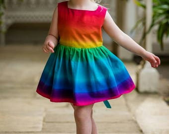 Rainbow dress, rainbow baby, girls party dress, toddler dress, summer dresses,first birthday outfit, special occasion, baby girl, party