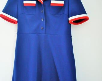 Vintage Sailor Dress / Medium / M / Collar / Blue / White / Red /
