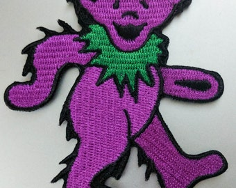 "Large Grateful Dead Purple Dancing Bear Iron On Patch 5"" x 5"" Officially Licensed P1211"