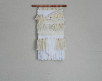 All white and cream wall hanging/ white weaving/ white wall decor