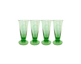 Vintage, Green Colored-Glass Tall Shot Glasses, S/4