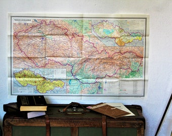 Map of Czechoslovakia - Old Map - Large Vintage Map - Map Wall Decor - Colored Map - Vintage School Map - Paper Folding Map - Rare Map