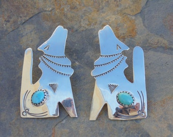 Verna Blackgoat ~ Vintage Navajo Sterling Silver and Turquoise Howling Coyote Post Earrings for Pierced Ears