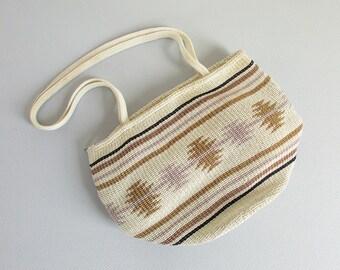 vintage market bag / woven fabric purse / southwestern shoulder bag in neutral colors