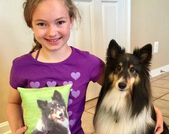 Custom small pillow made by my daughter, from your pet's photograph. Pet Pillows!