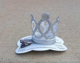 1 Silver Glitter Crown Girls Hair Clips -  Princess Girls Hair Clip - Birthday Girl Hair bow, Toddler Hair Clips