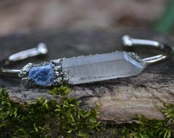 Sapphire -September Birthstone Jewelry, Birthstone Bracelet, Sapphire Bracelet, Crystal Quartz, Raw Gemstone Jewelry, Gift for Her
