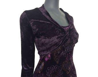 Vintage 90s Dark Purple Velvet Floral Paisley Pattern Hippy Boho Shrug Dress 10