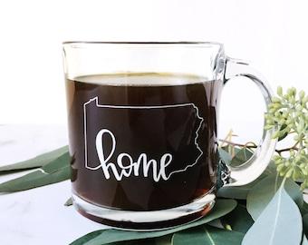 Pennsylvania State Outline Home Mug   Clear Glass Mug   White Hand Lettering   Glass Coffee Mug