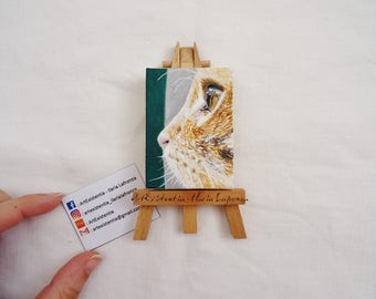 Mini canvases stand four-legged friend, cat, dog, custom, hand painted, original acrylic on canvas 5 x 7 cm
