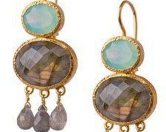 Chalcedony and Labradorite 24K vermeil drop earrings