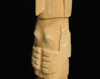 Primitive folk art carving of a woman