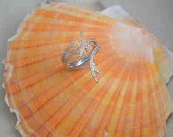 14K White Gold Vine Inspired Ring with Diamonds