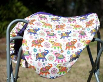 Custom Reversible Horse Saddle Cover - Reversible Elephant Print Saddle Cover