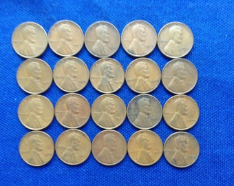 1939 Lincoln Wheat Pennies Old US Coins Coin Collecting Lot of 20