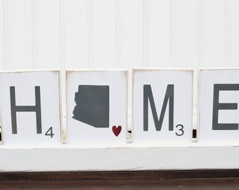 Scrabble tiles - Scrabble wall art - Large Scrabble tiles - State Wood Sign - Home Sign