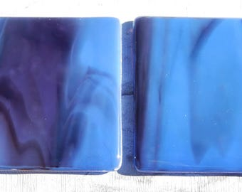 Pair of Midnight Blue Streaky Glass Coasters.  Handmade and Unique Fused Glass Coasters. Perfect present or gift for any occasion