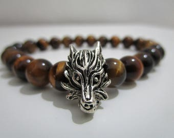 Eye of Tiger, Wolf bracelet, bracelet for man, gift, gift for man, jewelry mens bracelet Tiger's eye, bracelets of beads,Stone bracelets