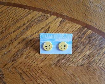 Winking Emoji Earrings