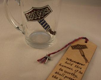 Superhero Gift Set; Batman; Spiderman; Thor; Glass Mug and Wooden Bookmark set