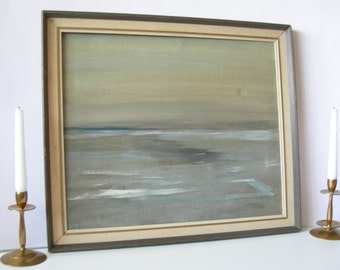 """Serene H.EKHOLM, 1975 Acrylic on Linen"""" Winter""""Authentic Signed , ORIGINAL Ascetic Minimalist Painting See Side Calm Waters Neutral Painting"""