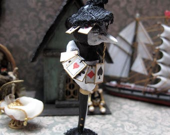 Whimsical miniature Bird on the theme of Alice in the Wonderland