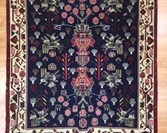 "2'9"" x 3'3"" Square Persian Sirjan Oriental Rug - Hand Made - 100% Wool"