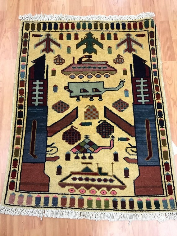 2' x 3' Afghan Commemorative USA War Rug - Hand Made - 100% Wool