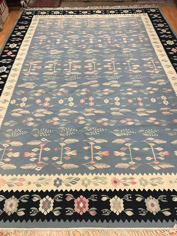 9' x 12' Chinese Kilim Oriental Rug - Two Sided - Hand Made - 100% Wool
