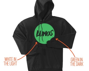 "Harry Potter - ""Glow-in-the-Dark Lumos"" - Harry Potter T-Shirt - Lumos T-Shirt - Potterhead T-Shirt - Unisex Adult Size Black Hoodie"