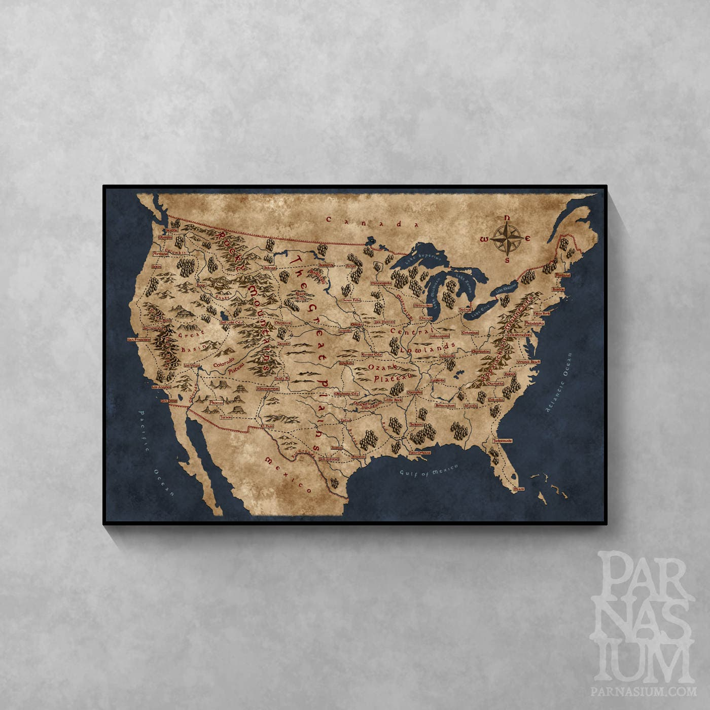 Fantasy Map Of USA Fantasy Gift For Reader Wall Map Poster - Old us map and pics