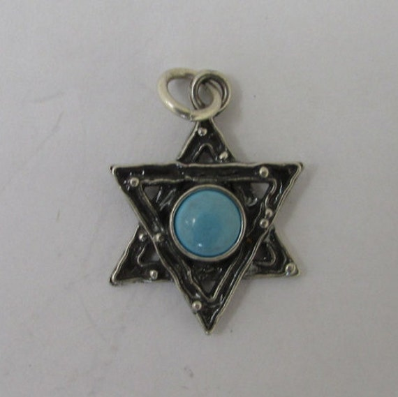 Sterling silver star of david pendant with turquoise bead for Star of david jewelry wholesale