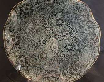 Vintage Retro 1960's 60's Chance glass lace decorative fluted glass plate dish