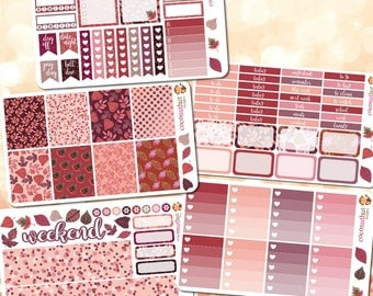 Autumn / Fall Pink & Purple Weekly Planner Sticker Set