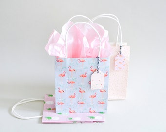Flamingo gift bags, pink paper bags, watermelon paper bags, Tropical Spring, Paper Poetry