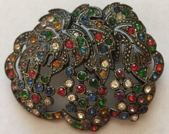 Vintage c.1940's Multi Color Rhinestone European Pin Brooch