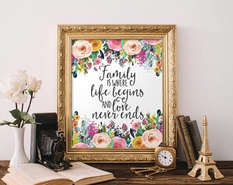 Family Printable Wall Art, Family is where life begins and love never ends printable quote floral art print family Quote printable art