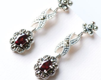925 Sterling Silver Marcasite Earrings, Dangle Earrings, Garnet Earrings, Gift For Her
