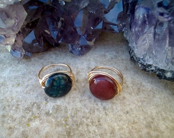 Gold Agate Ring, Agate Ring, Gemstone Ring, Gold Plated Ring, Tarnish Resistant Ring