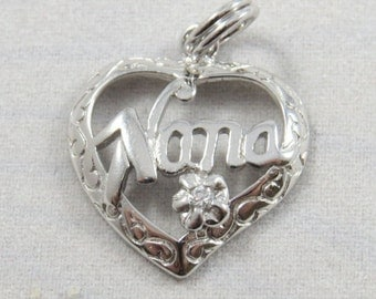 Heart with Nana and Jewel Sterling Silver Charm or Pendant.