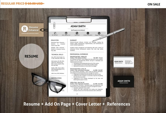 80% off SALE Creative Resume Template | Professional and Modern Resume Template with Cover Letter | DIY Printable | CV | Teacher Resume