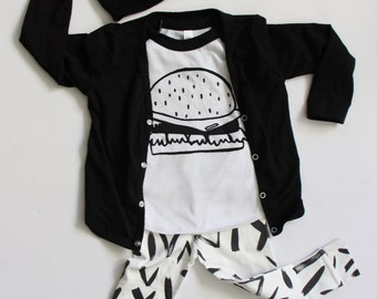 Cheeseburger Baseball Tee, baby kids burger shirt, Infant toddler hamburger tee, kawaii food shirt, junk food tee, modern hipster kids shirt