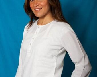White Plain Kurti Tunic Full Sleeve - Women